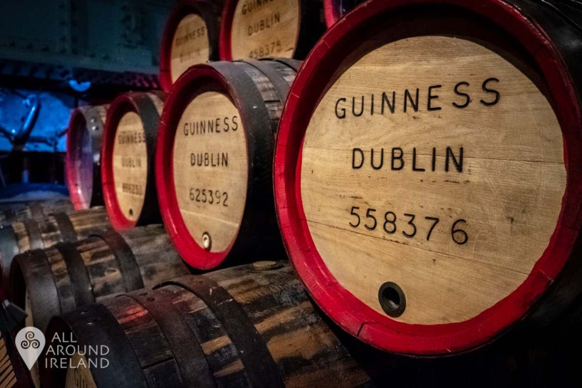 Close up shot of casks piled on top of one another at the Guinness Storehouse