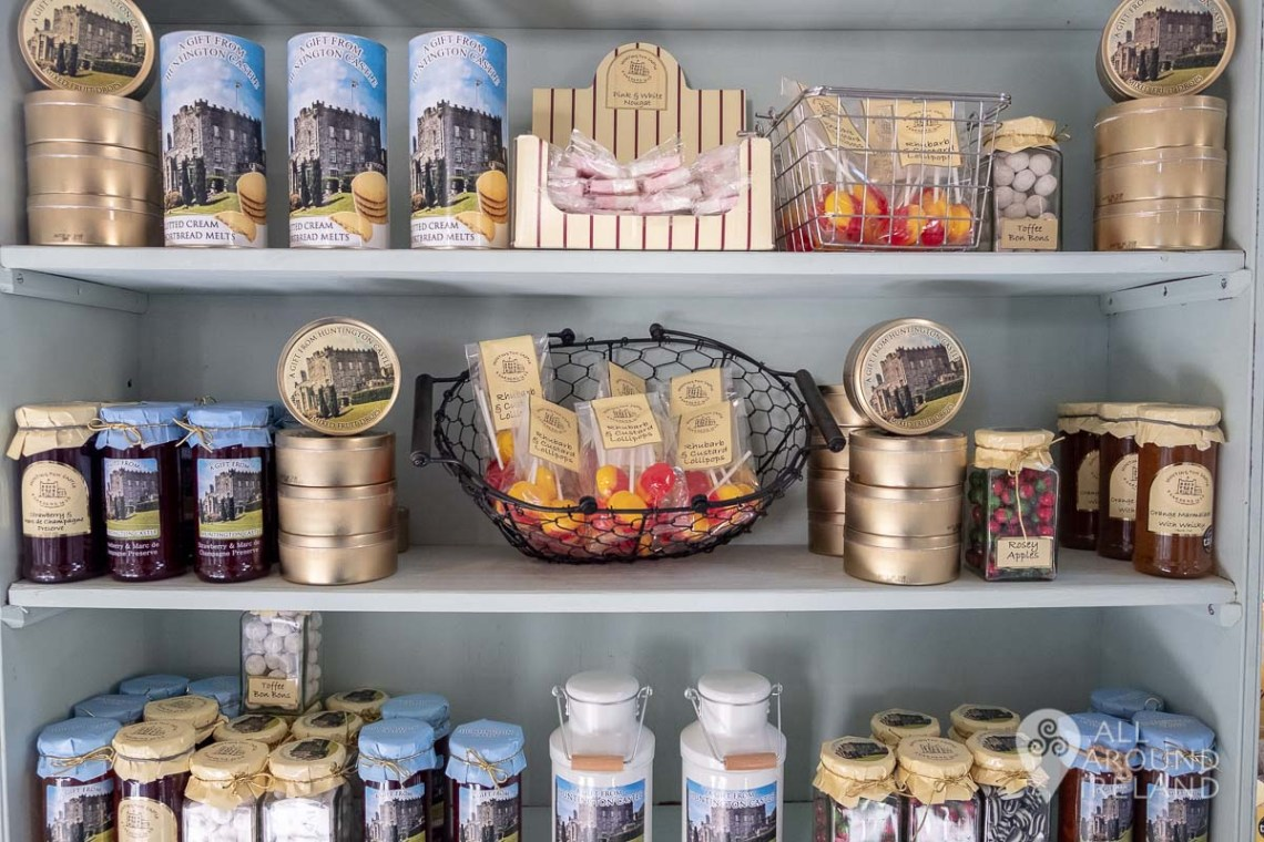 Shelves of sweets and other treats for sale in the tea rooms at Huntington Castle