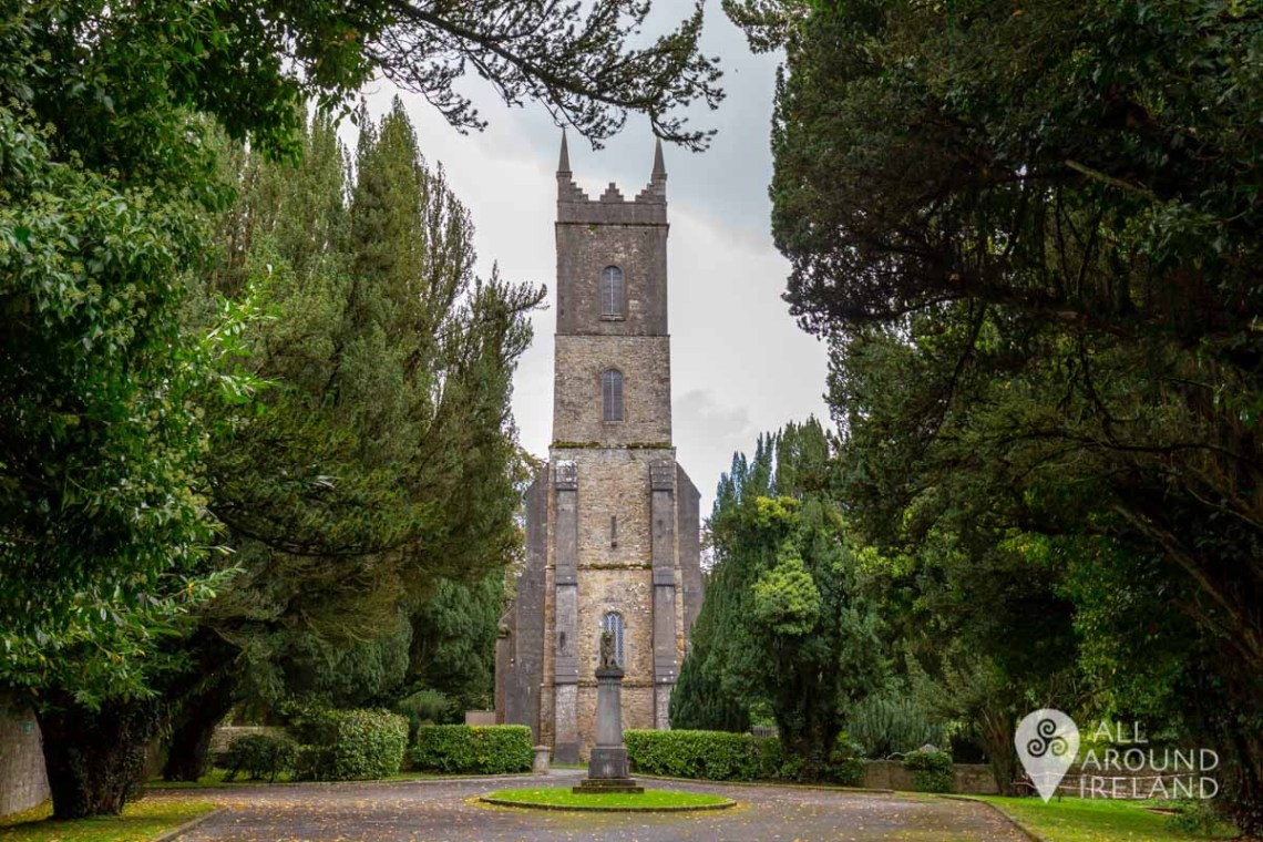 St Salvator's Church peeking through the trees on the Castle Leslie Estate