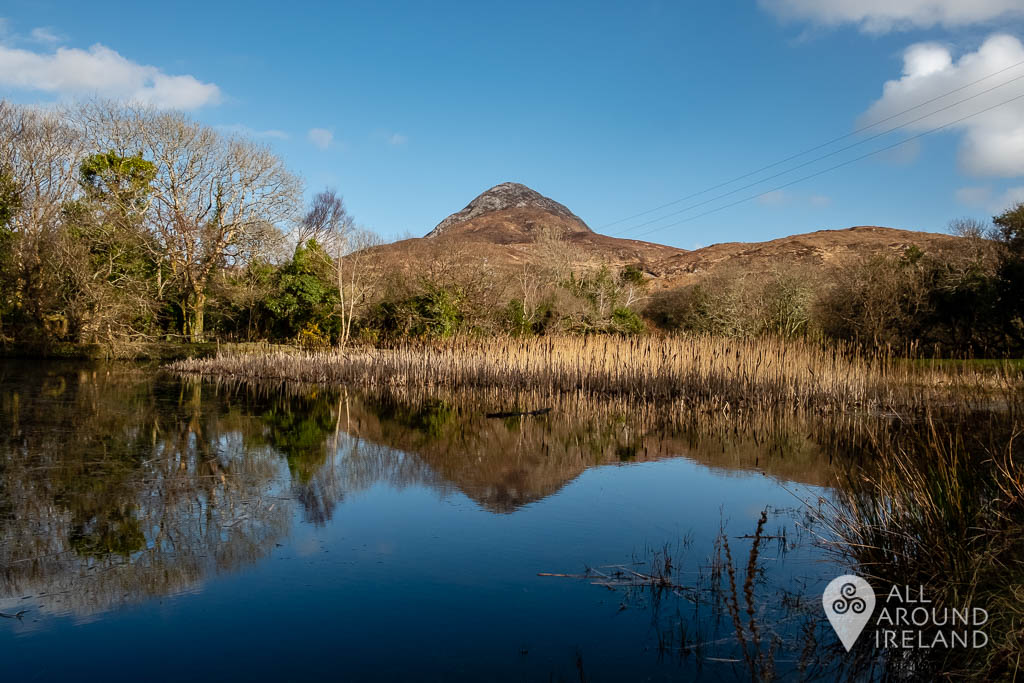 Diamond Hill reflected in the lake beside the Visitor Centre on a clear blue sky day.