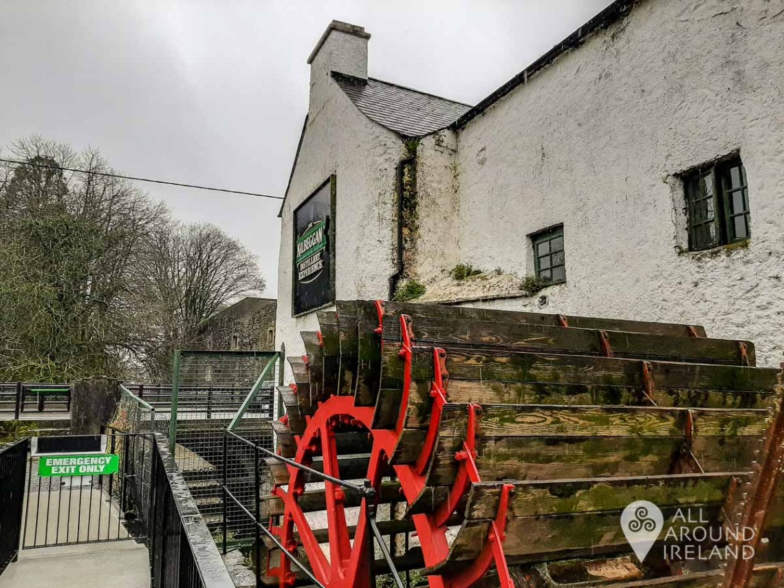 The water wheel outside the Kilbeggan Distillery which was restored
