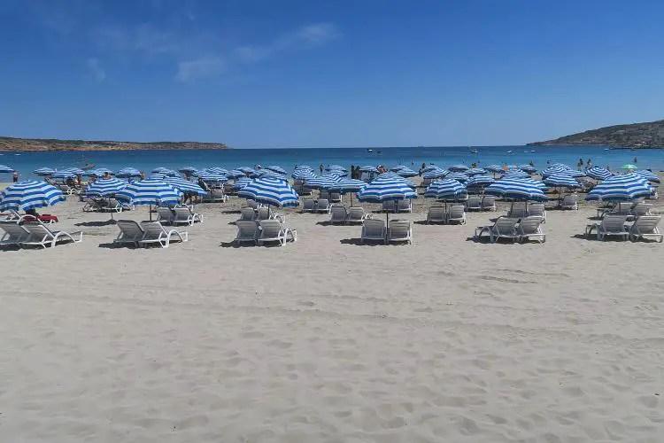 Der weiße Sandstrand an der Mellieha Bay im Norden der Insel Malta. Am Strand stehen blau-weiße Sonnenschirme mit weißen Sonnenliegen. Das Meer ist türkisblau.