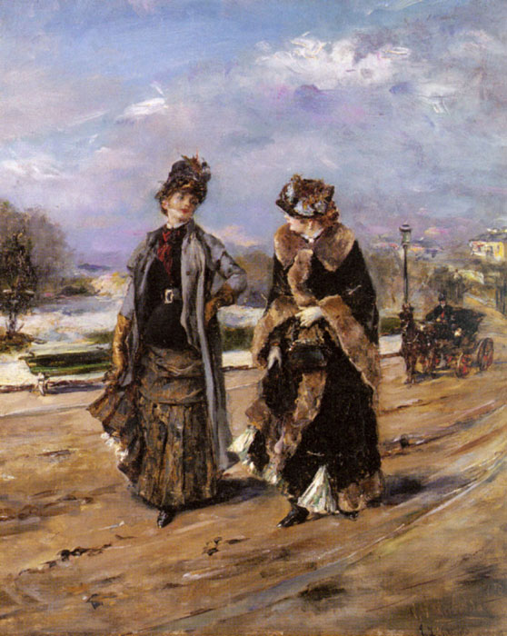 Paintings Reproductions Garrido, Eduardo Leon A Leisurely Promenade