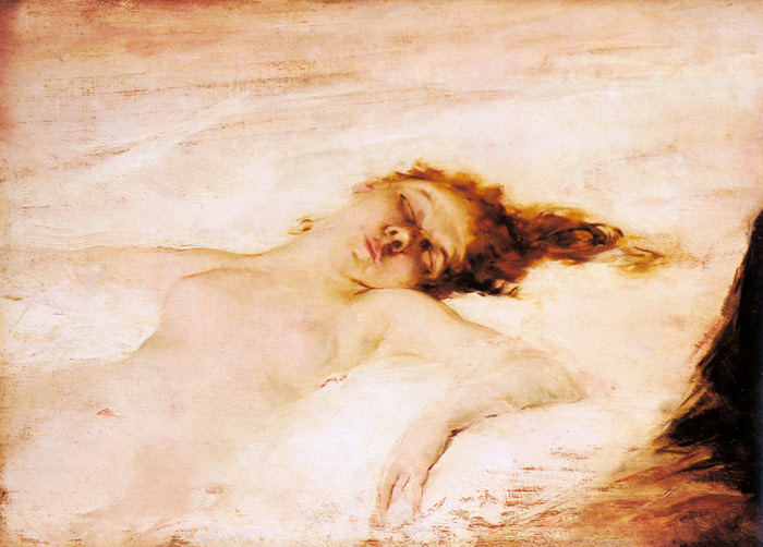 Paintings Reproductions Garrido, Eduardo Leon A Reclining Nude