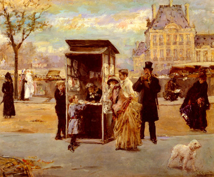 Paintings Reproductions Garrido, Eduardo Leon The Kiosk by the Seine