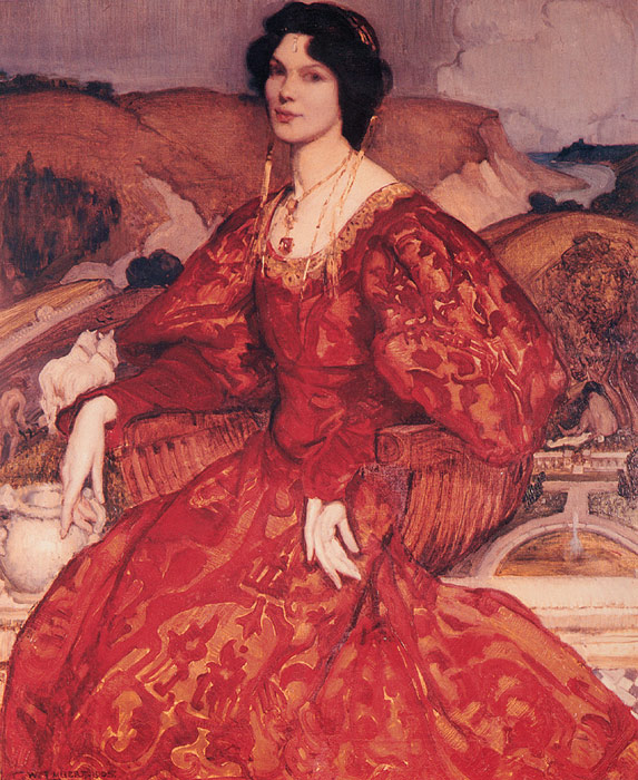 Paintings Reproductions Lambert, George Sybil Walker in Red and Gold Dress, 1905