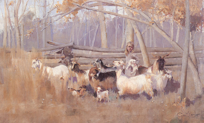 Paintings Reproductions Lambert, George A Bush Idyll, 1896