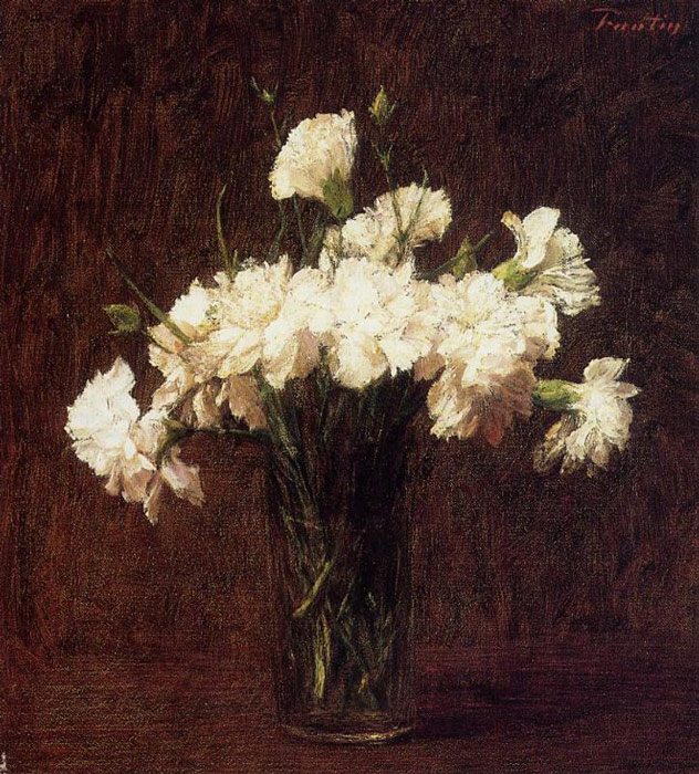 Paintings Reproductions Fantin-Latour, Ignace-Henri- Theodore White Carnations, 1904