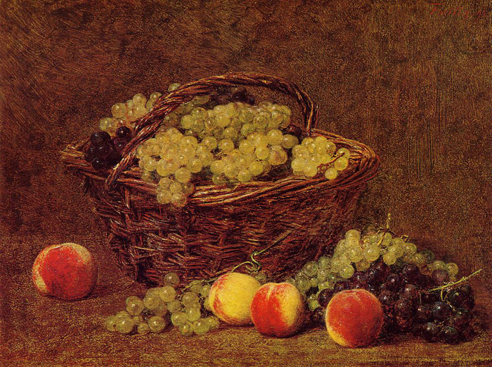 Paintings Reproductions Fantin-Latour, Ignace-Henri- Theodore Basket of White Grapes and Peaches, 1895