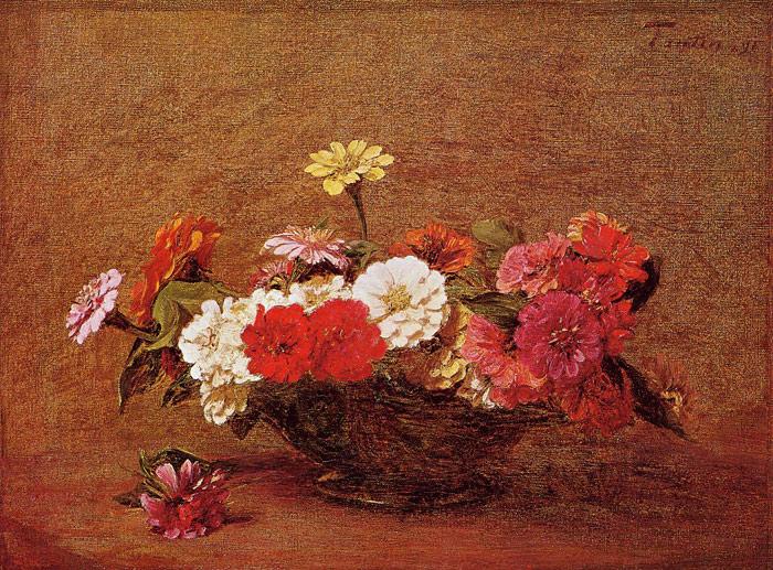 Paintings Reproductions Fantin-Latour, Ignace-Henri- Theodore Zinnias, 1891
