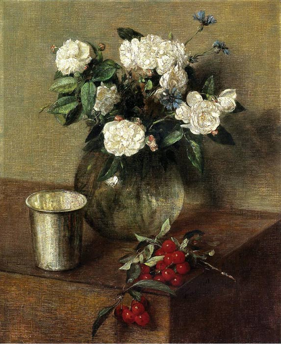 Paintings Reproductions Fantin-Latour, Ignace-Henri- Theodore White Roses and Cherries, 1865