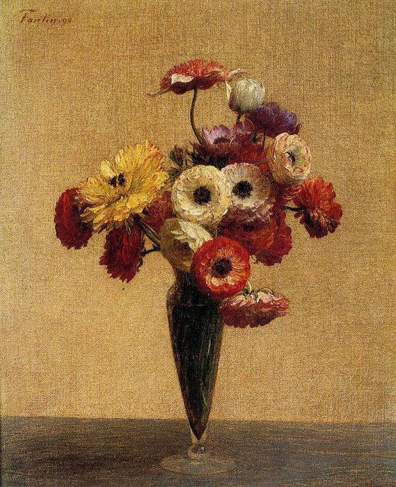 Paintings Reproductions Fantin-Latour, Ignace-Henri- Theodore Anemones and Buttercups, 1890