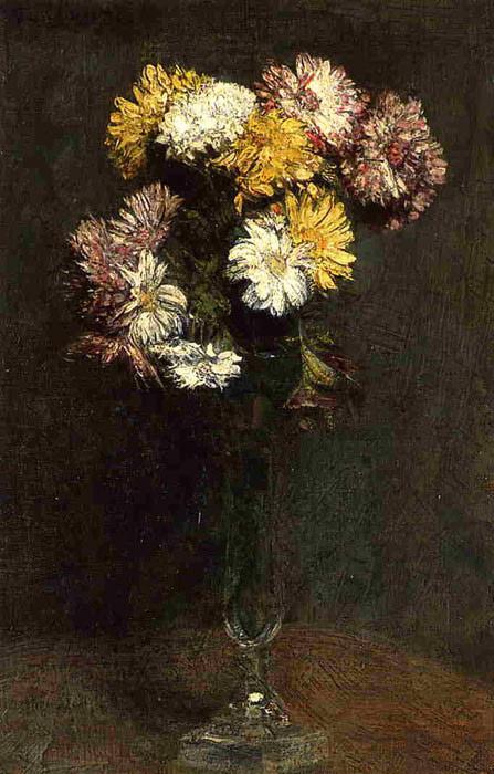 Paintings Reproductions Fantin-Latour, Ignace-Henri- Theodore Chrysanthemums, 1871