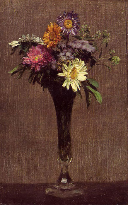 Paintings Reproductions Fantin-Latour, Ignace-Henri- Theodore Daisies and Dahlias, 1872