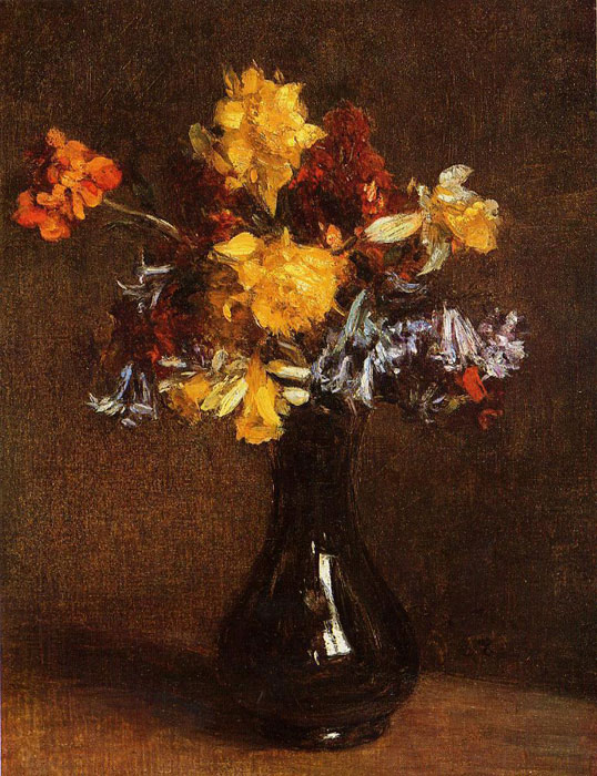 Paintings Reproductions Fantin-Latour, Ignace-Henri- Theodore Vase of Flowers, 1872