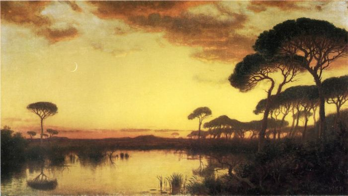 Paintings Reproductions Haseltine, William Stanley Sunset Glow, Roman Campagna, 1875