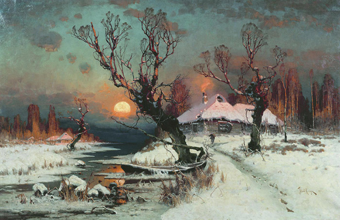 Paintings Reproductions Klever, Yuliy Yulevich (Julius) Winter Sun Dawn, 1891