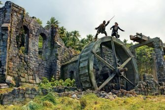 Caribbean movie destinations: Hampstead Beach, Dominica and the waterwheel scene from Pirates of the Caribbean: Dead Man's Chest starring Johnny Depp. Photo courtesy of Dominica Film Commission