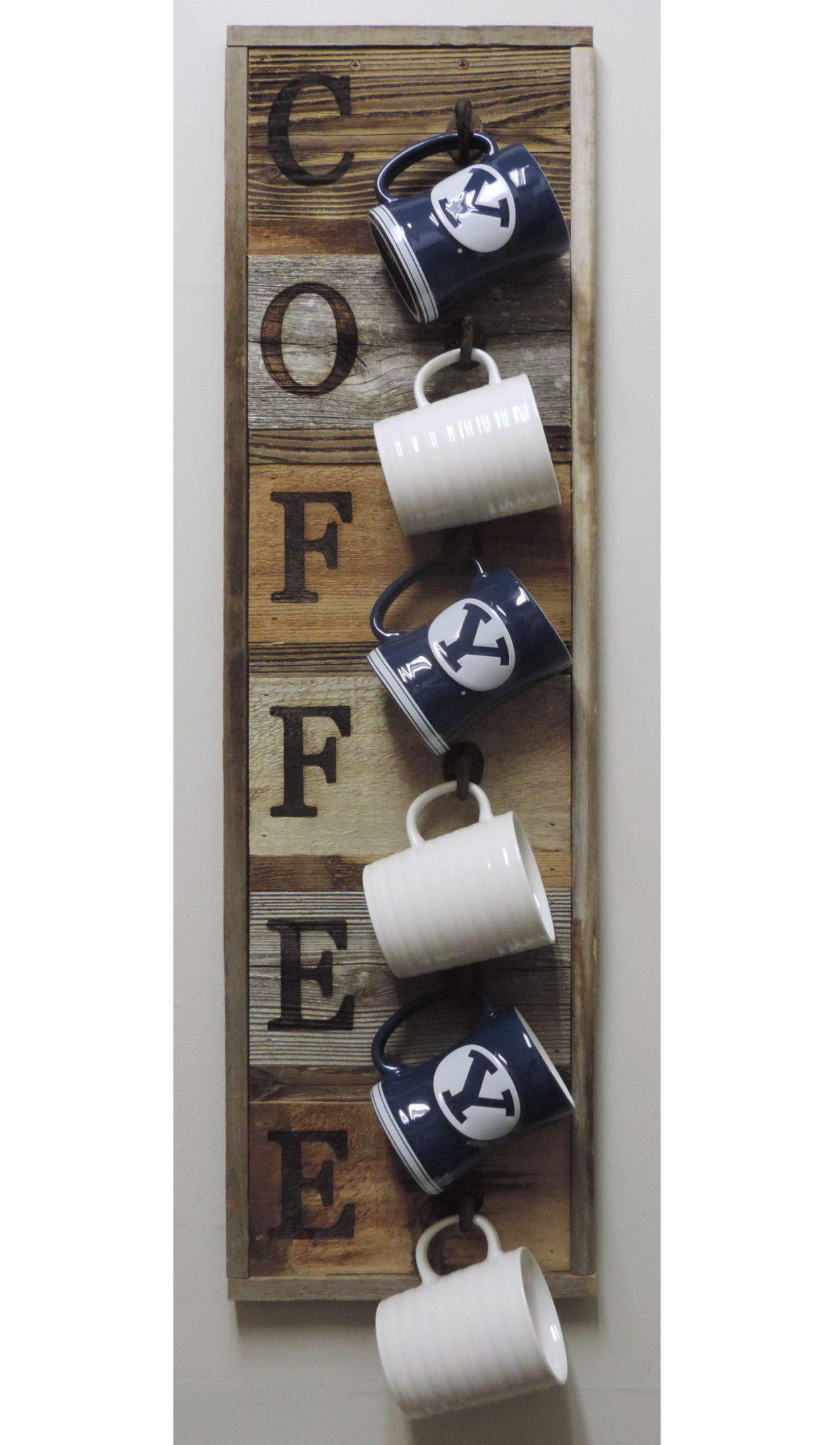 barnwood coffee mug rack vertical wall mount coffee cup holder
