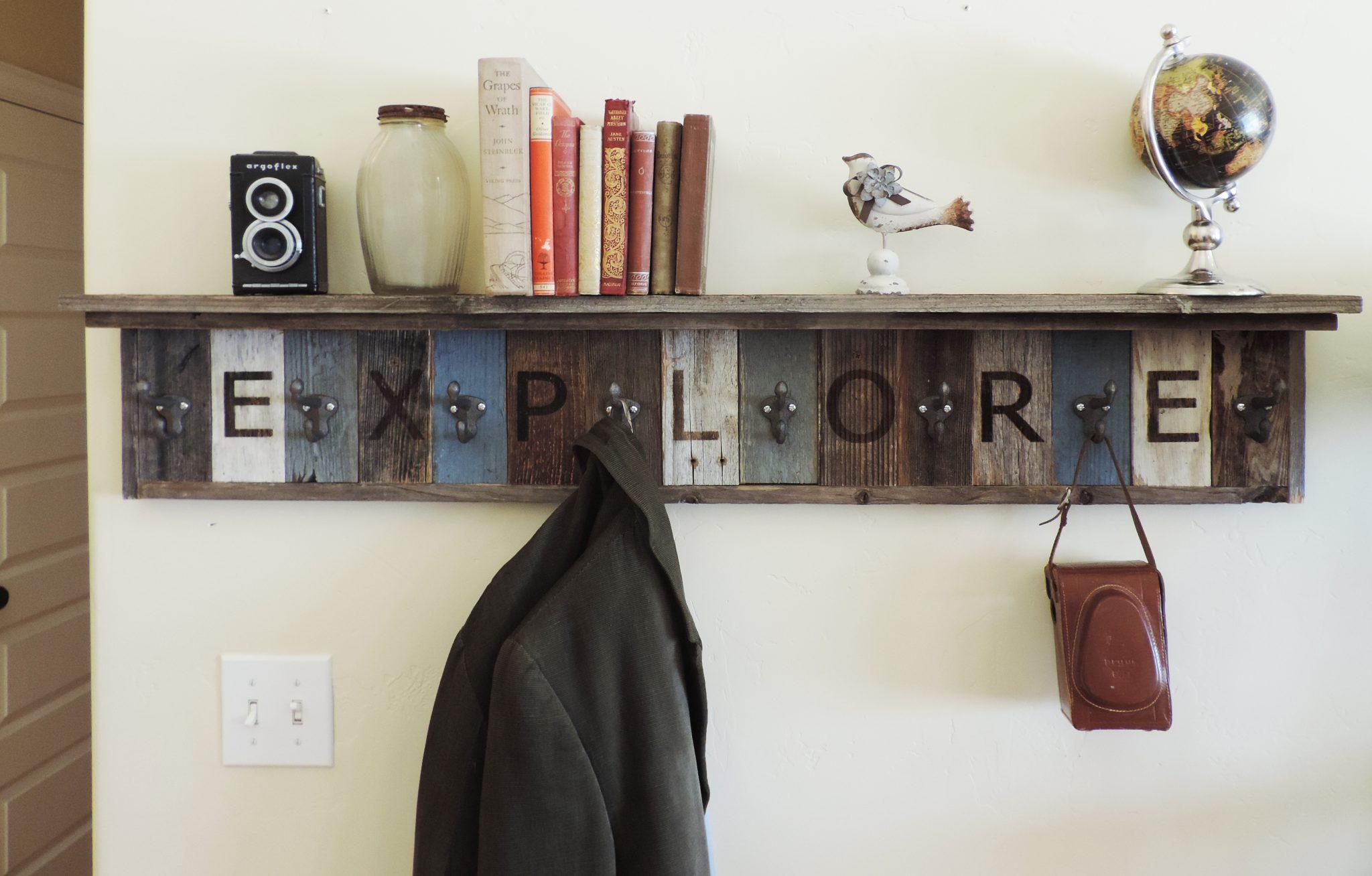 personalized wooden coat hook rack reclaimed barn wood w 4 in deep shelf