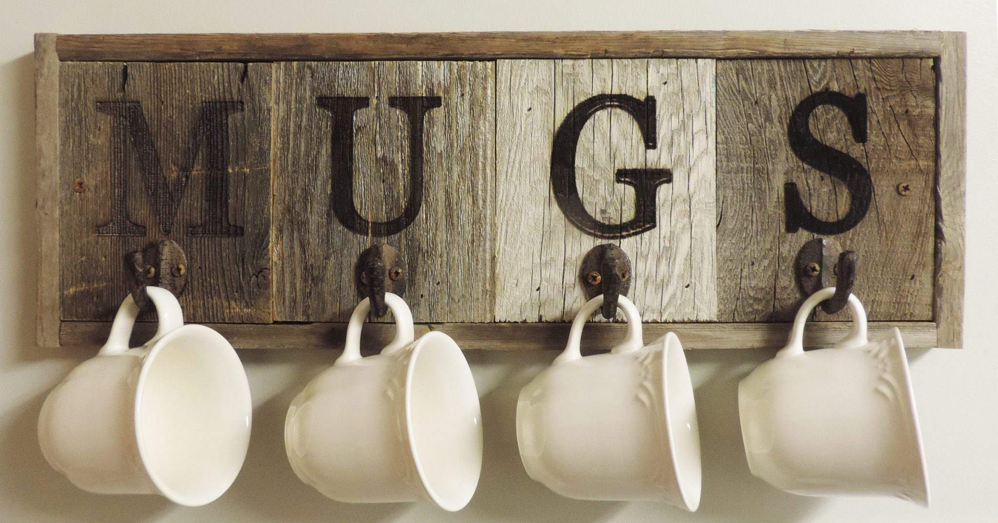 barn wood mug rack wall mount cup holder 4 hooks