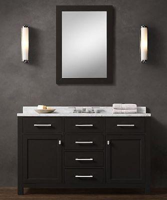 blk02-55 wooden bathroom vanity cabinet in black color from black