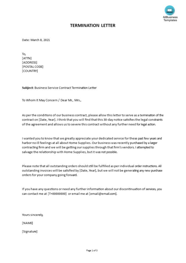 免费Business Service Contract Termination Letter  样本文件在