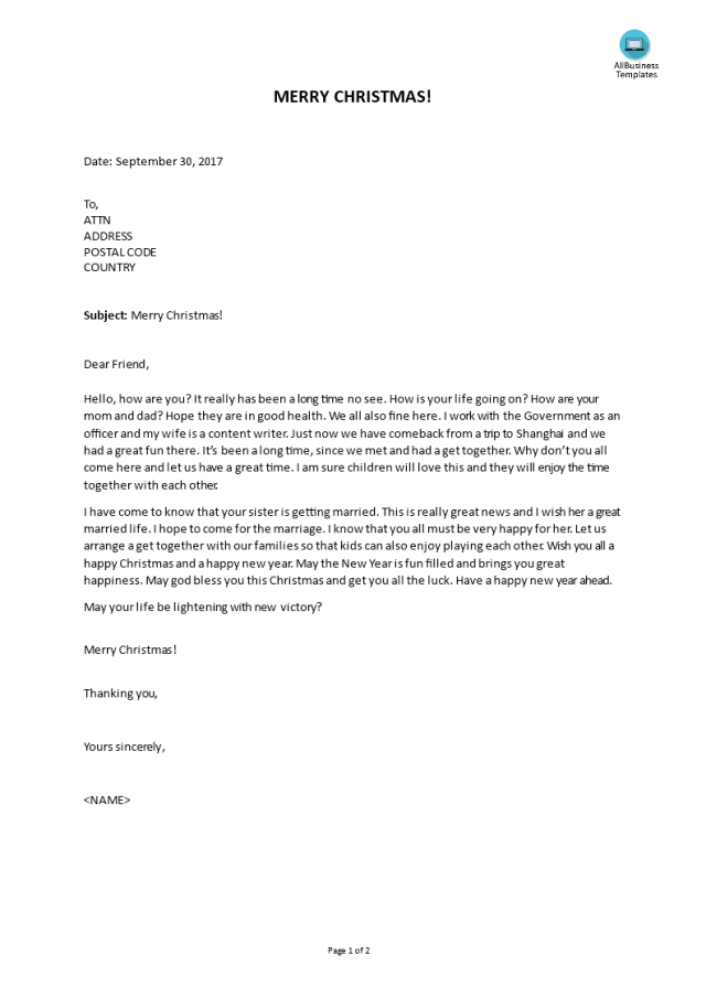 Kostenloses Best Christmas Letter to friends ever