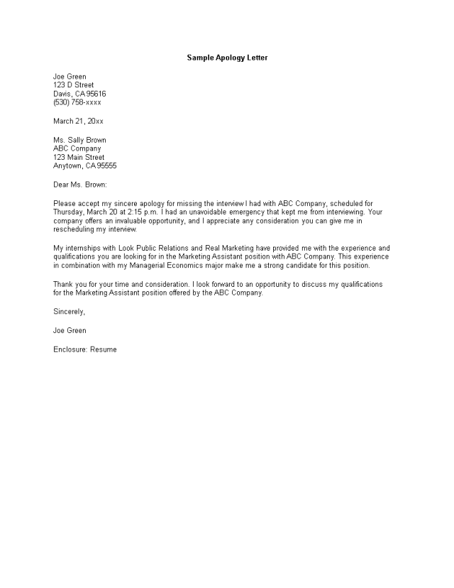 Kostenloses Formal Letter Of Apology