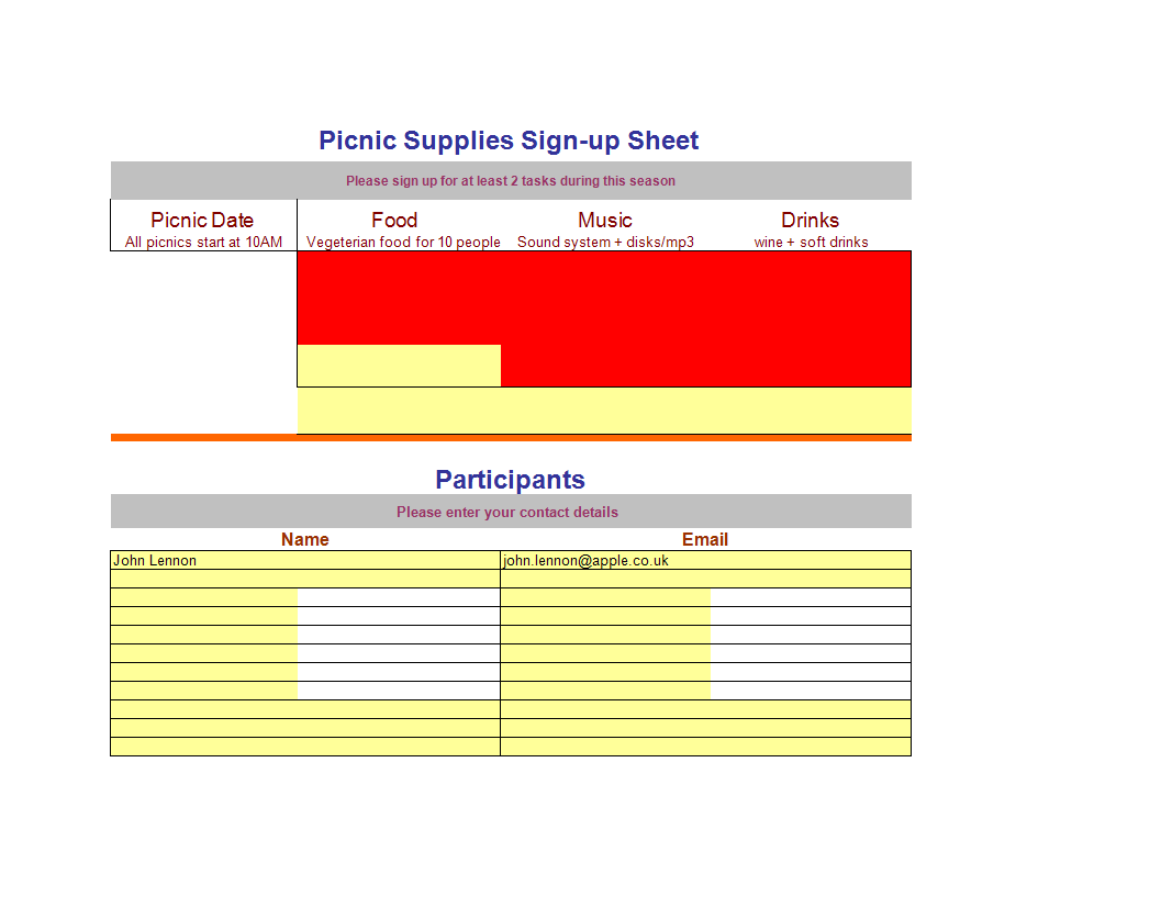 Sign Up Sheet Worksheet Template