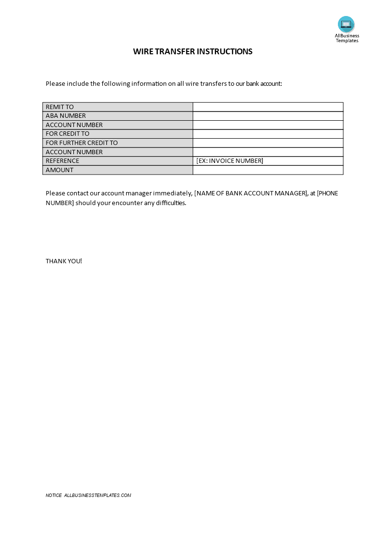 Wire Transfer Instructions Form | Templates at allbusinesstemplates.com
