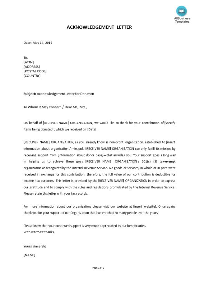免费Sample Acknowledgement Letter for Donation  样本文件在