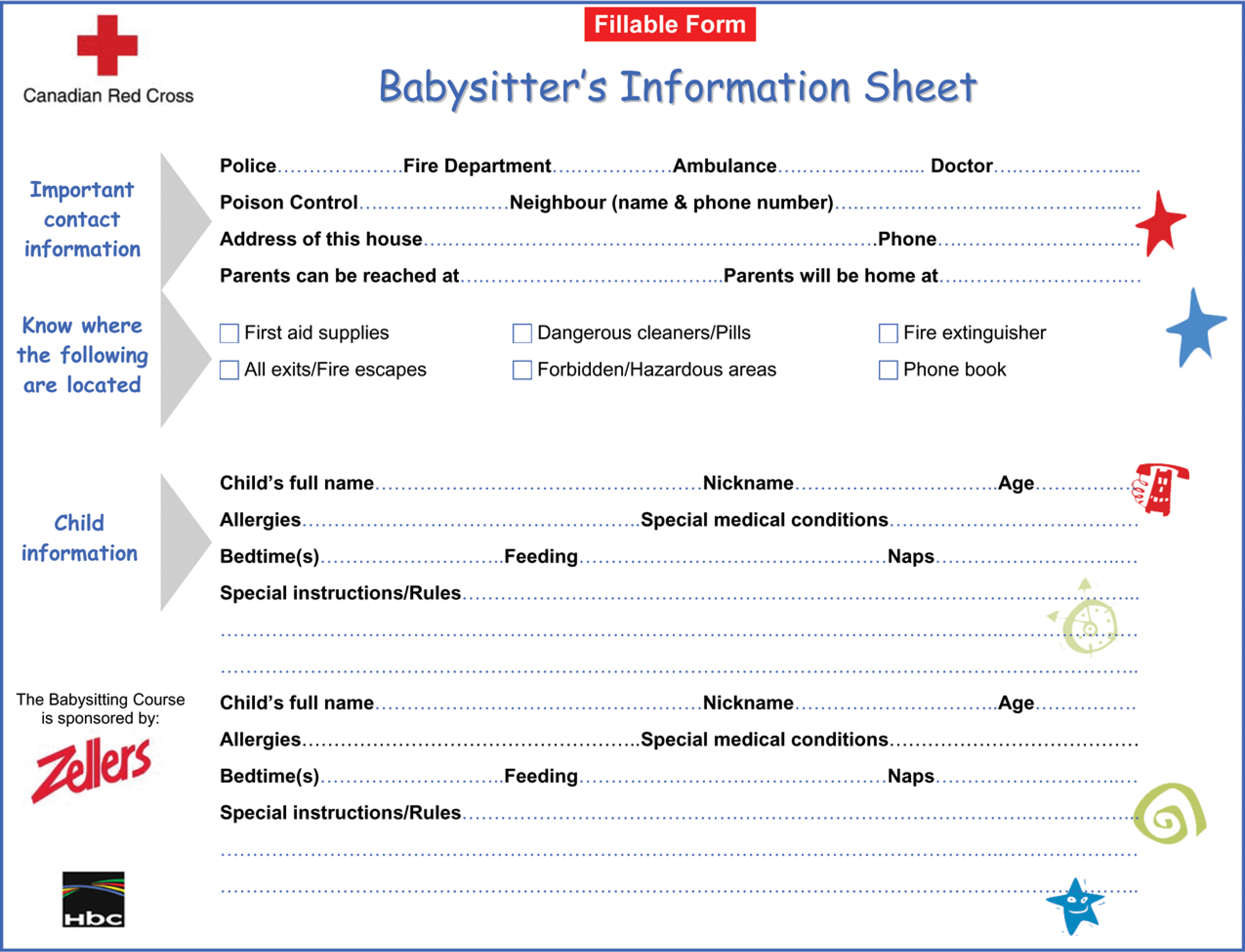 Printable Babysitter Information Sheet