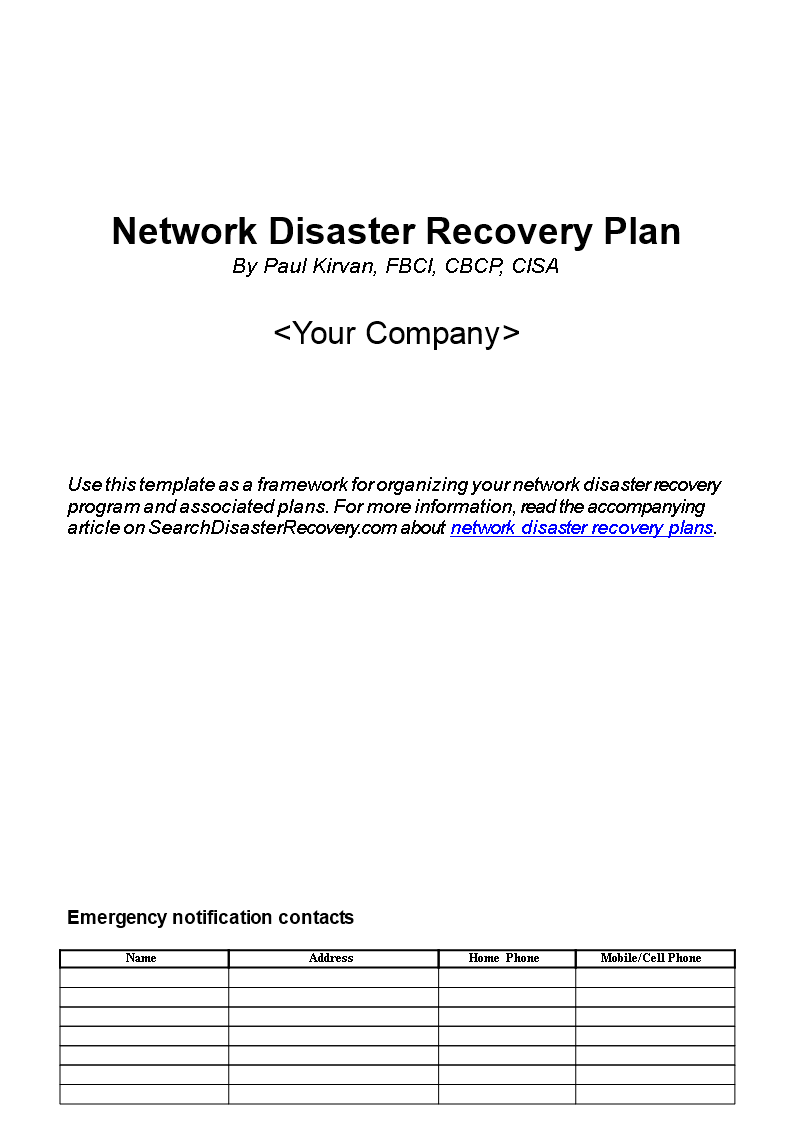 A recovery checklist template and practical steps to deal with a business after a. Network Disaster Recovery Plan Templates At Allbusinesstemplates Com
