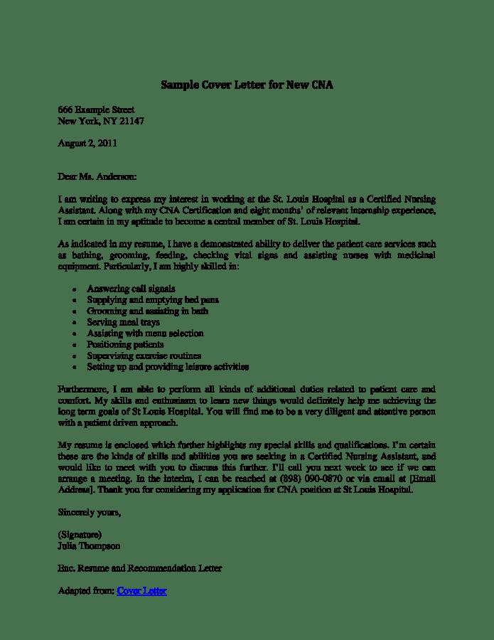 Telecharger Gratuit Nursing Assistant Cover Letter