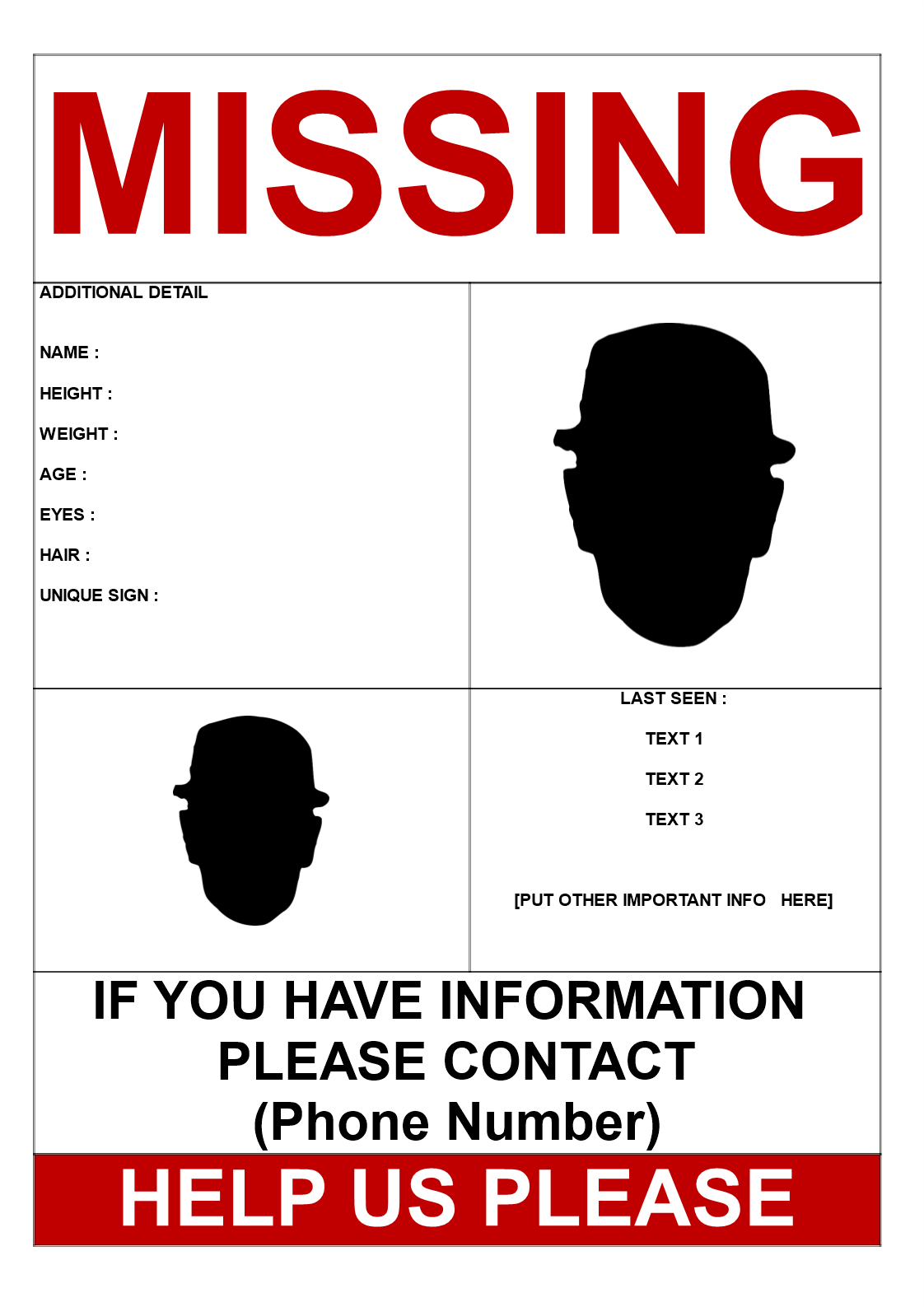 Missing Person Template 2 Pictures Templates At