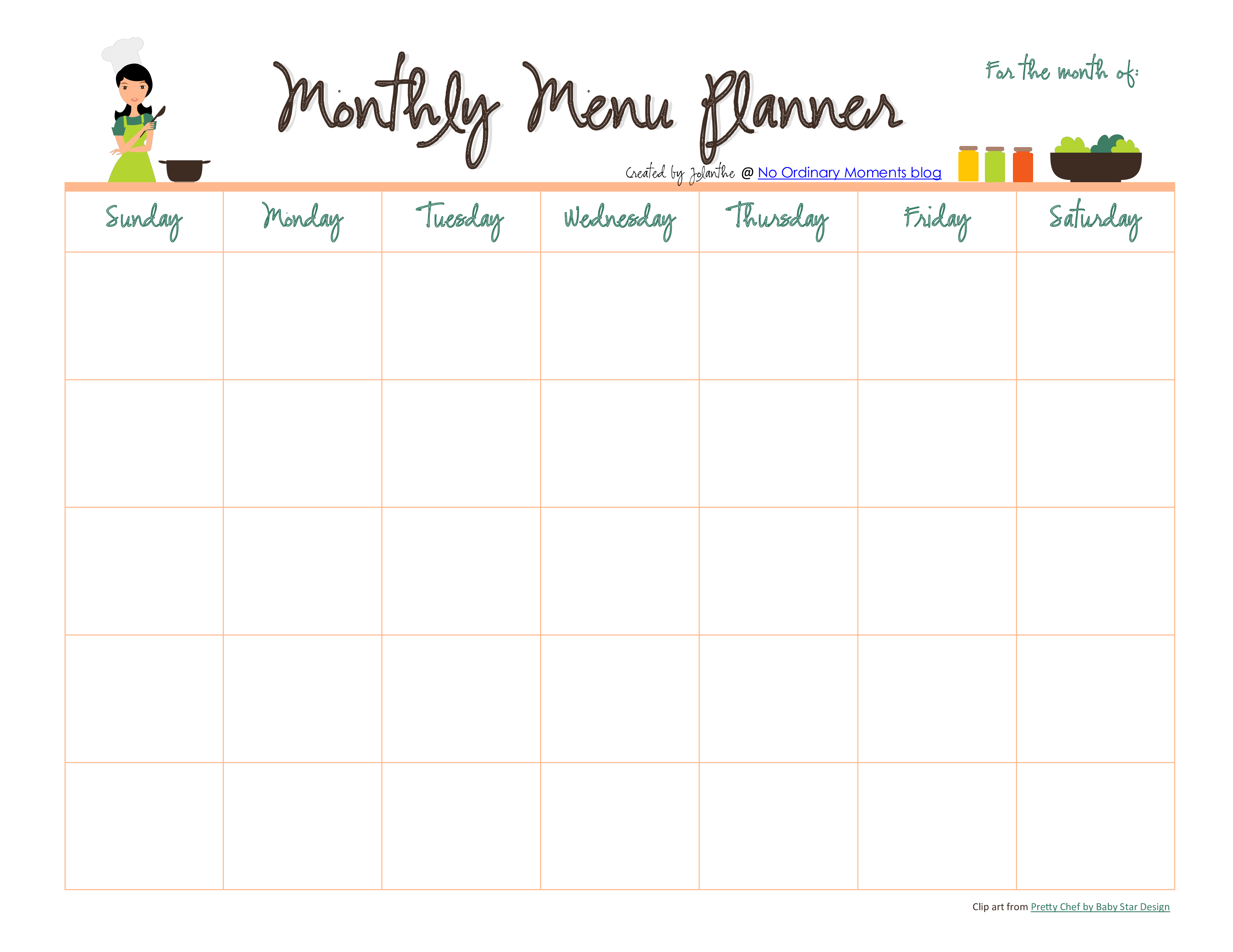 Monthly Meal Menu Planner Format Template 0a
