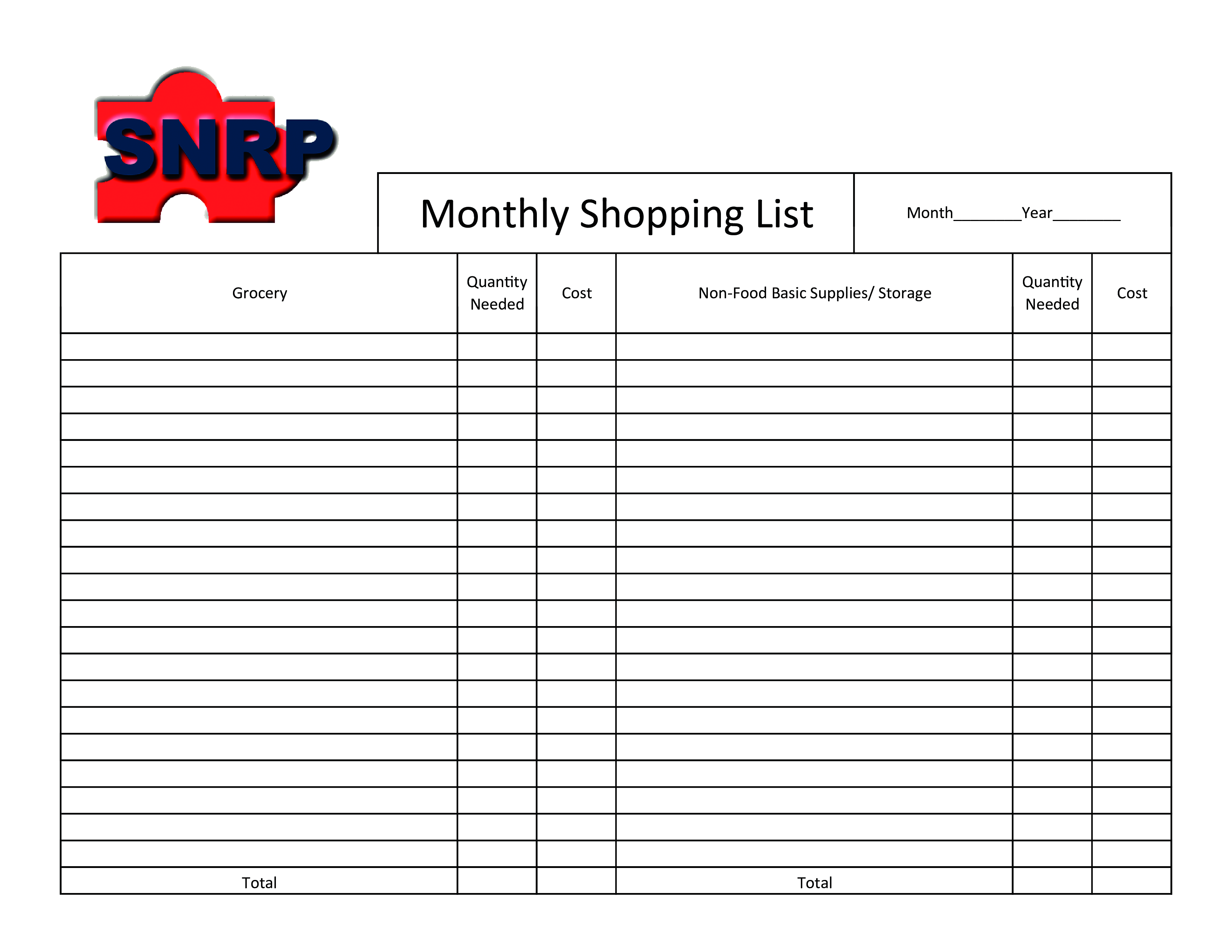 Printable Monthly Shopping List