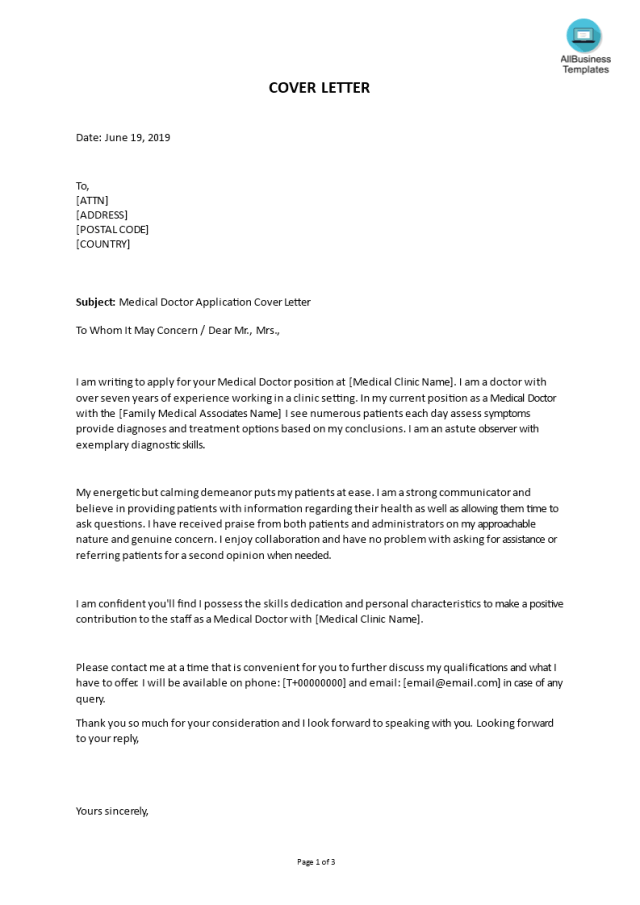 Kostenloses Medical Doctor Application Cover Letter template
