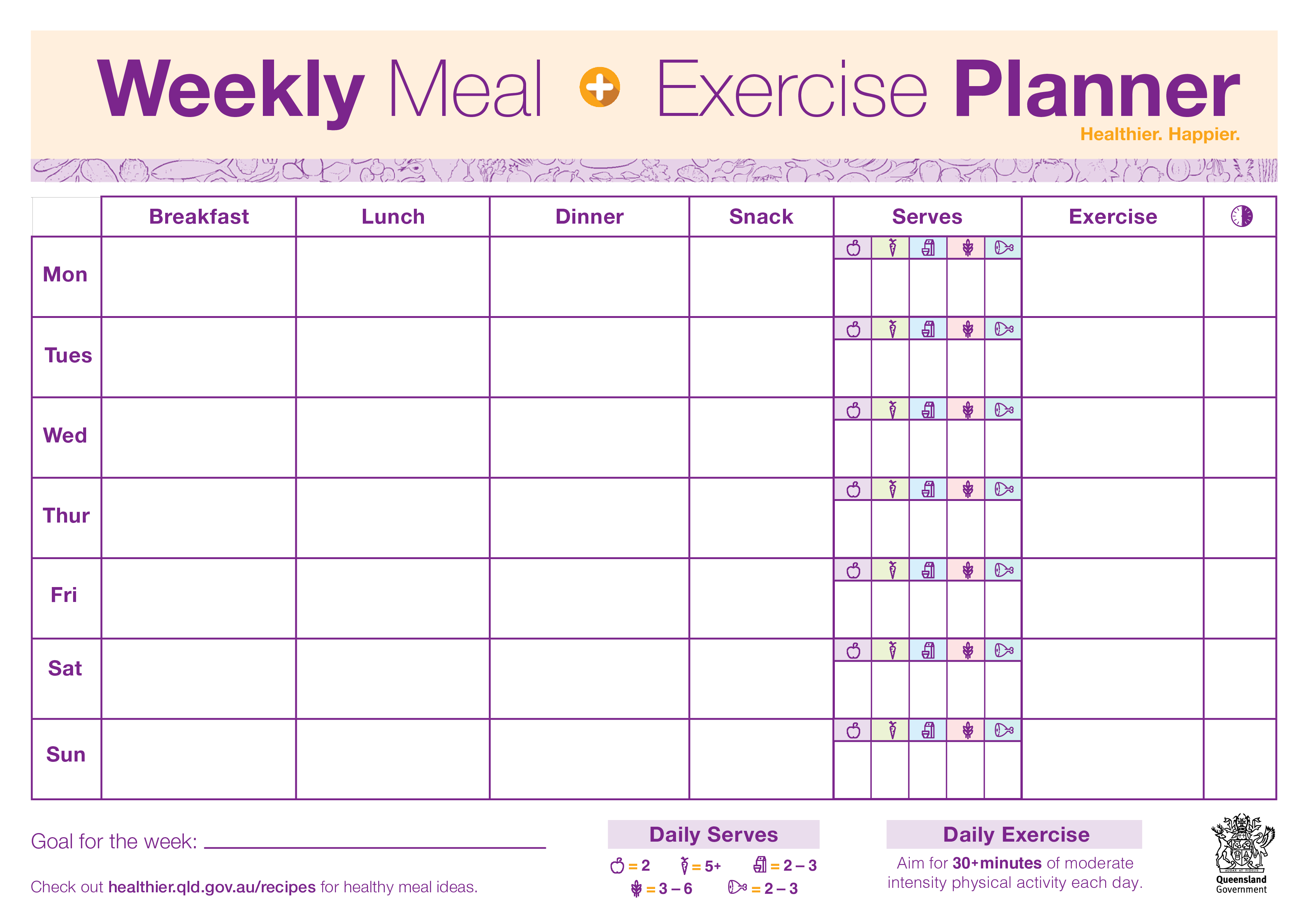Weekly Meal Exercise Planner