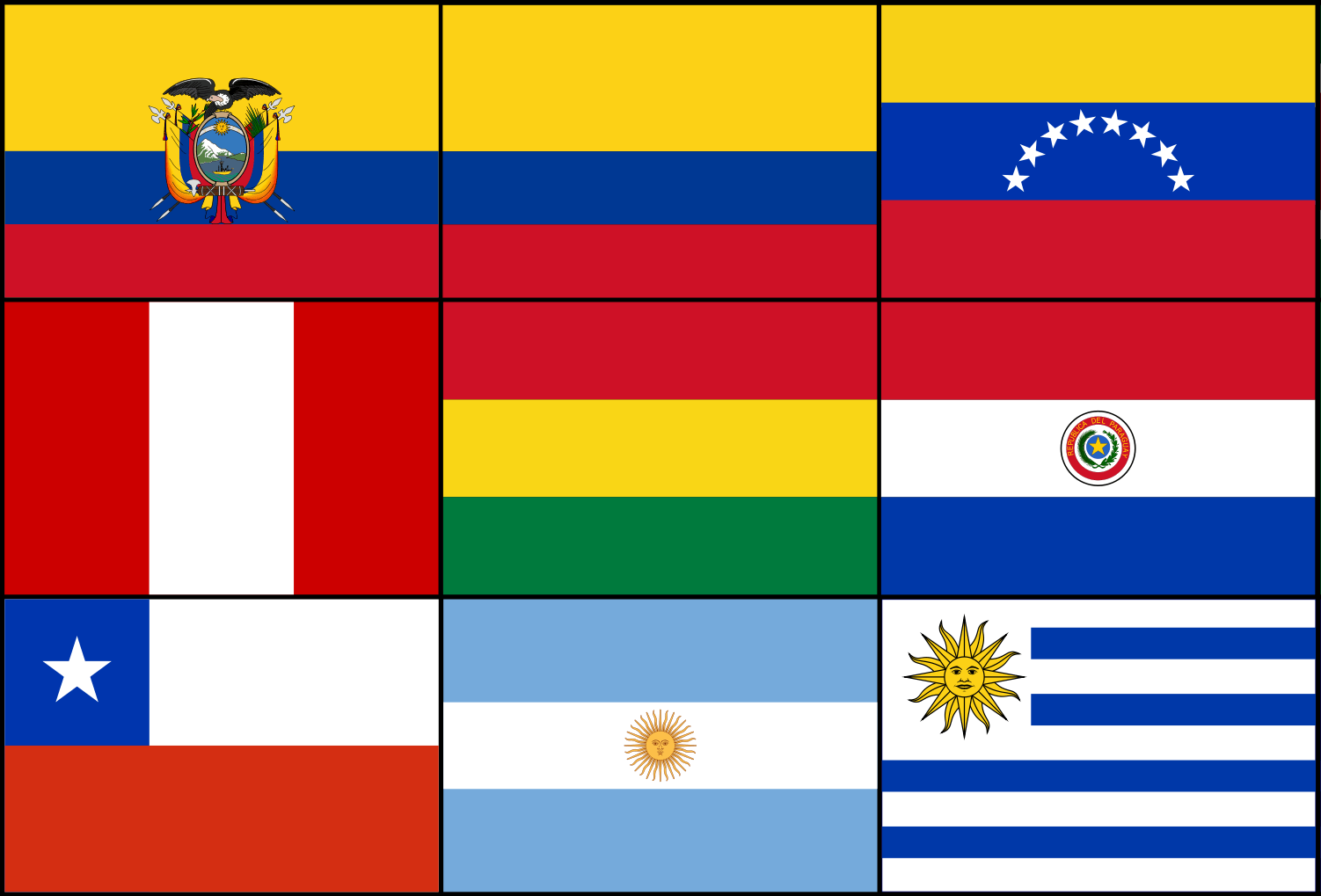 South American Printable Flags Template