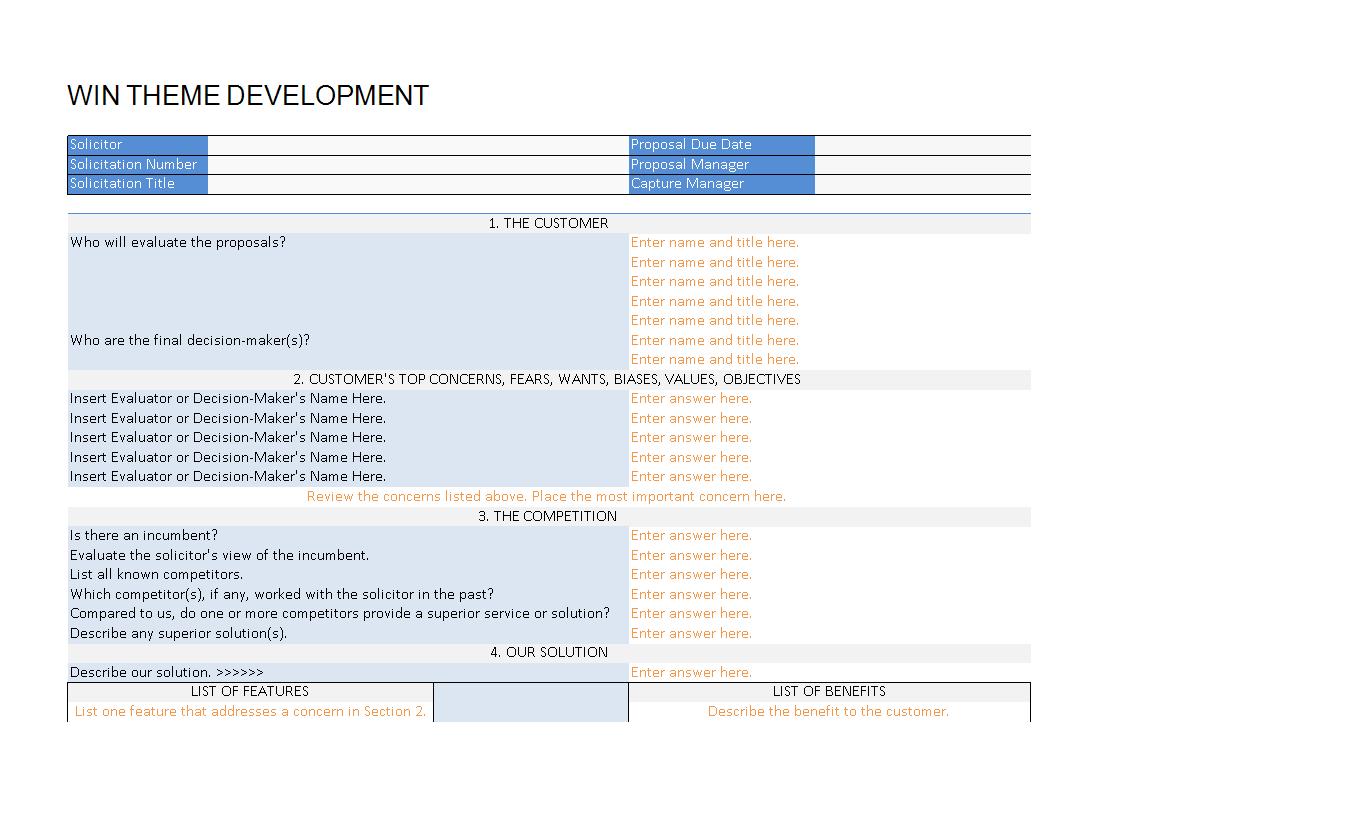 Win Theme Development Worksheet
