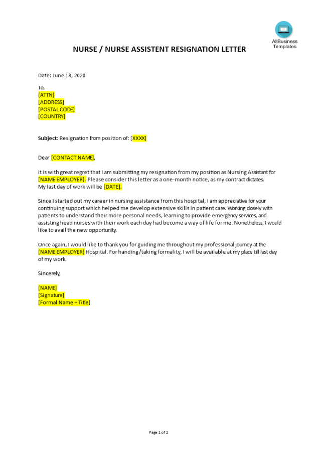 Kostenloses Nurse Assistant Resignation Letter