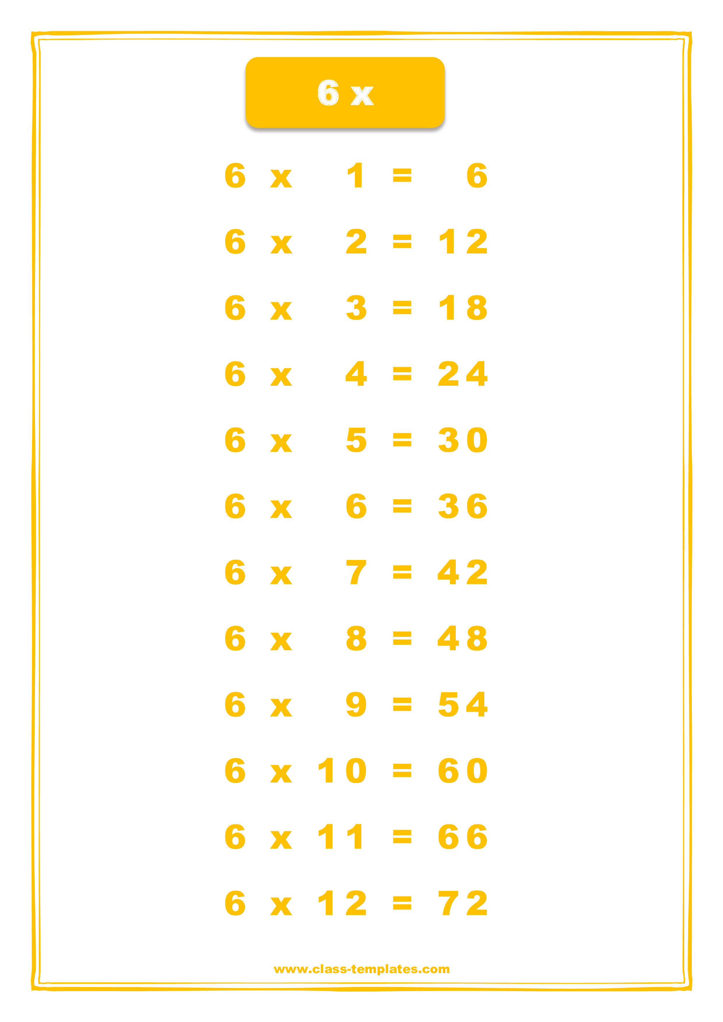 X6 Times Table Chart