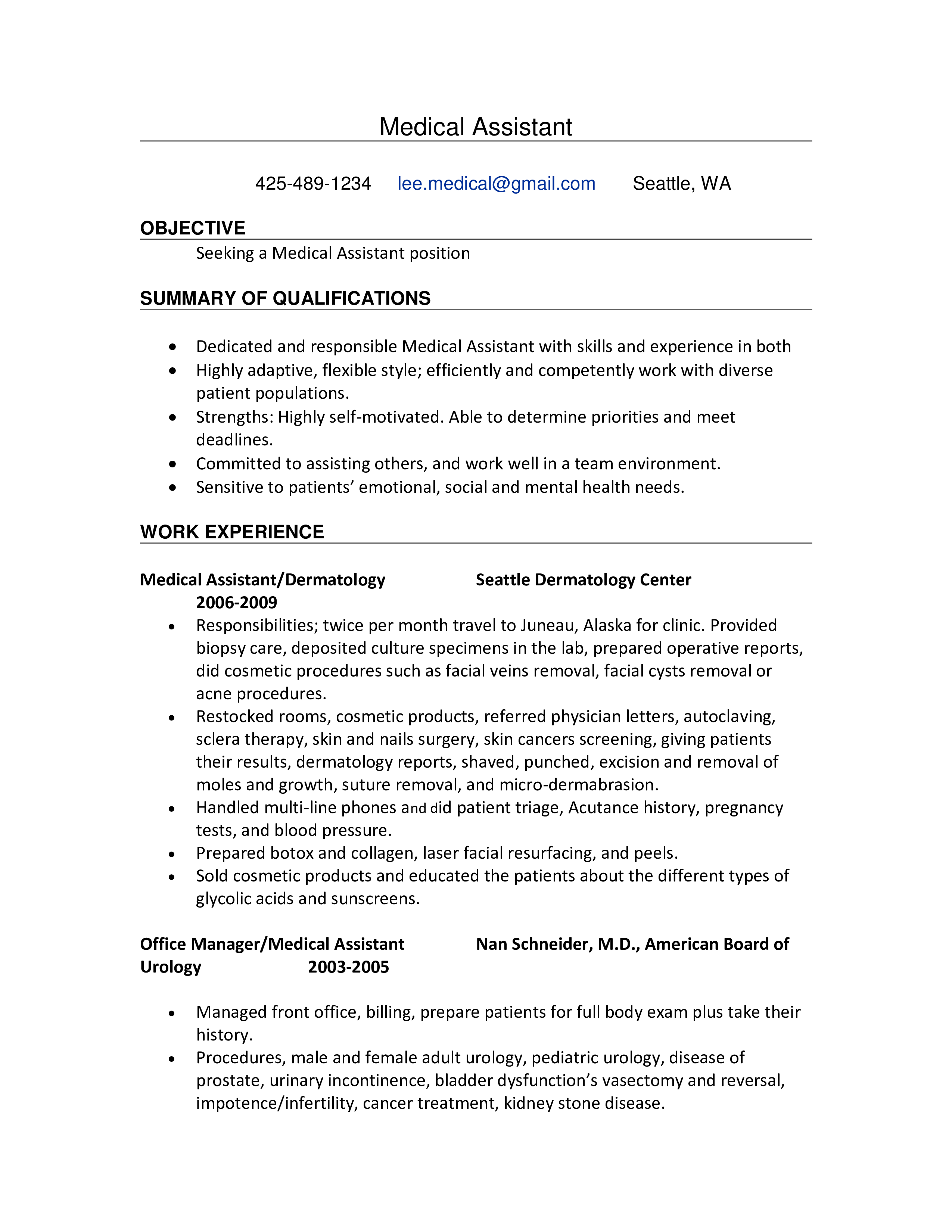 Medical Assistant Work Experience Resume