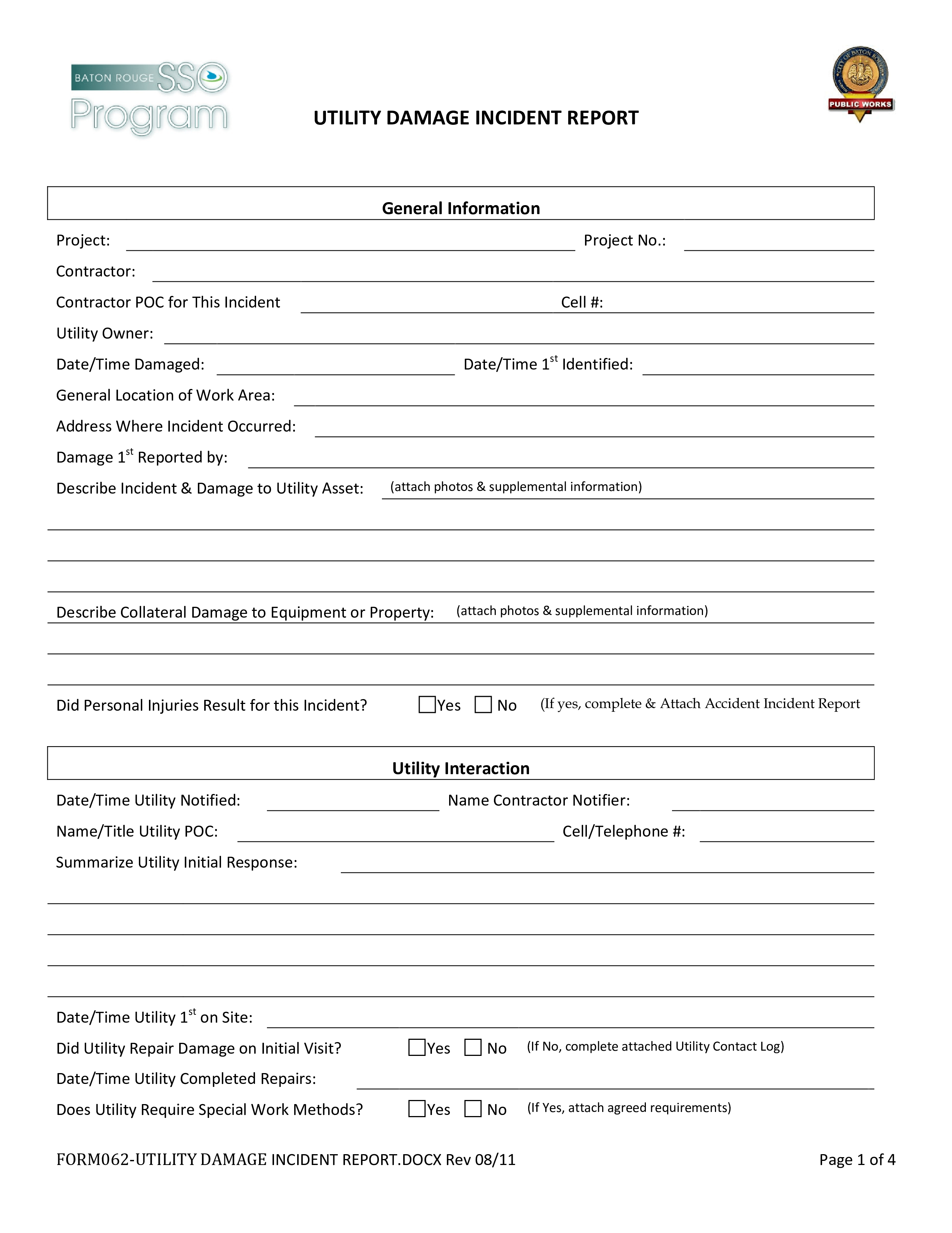 Utility Damage Incident Report Form
