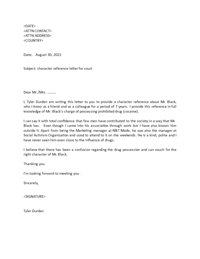 Character Reference Letter for Court  Templates at