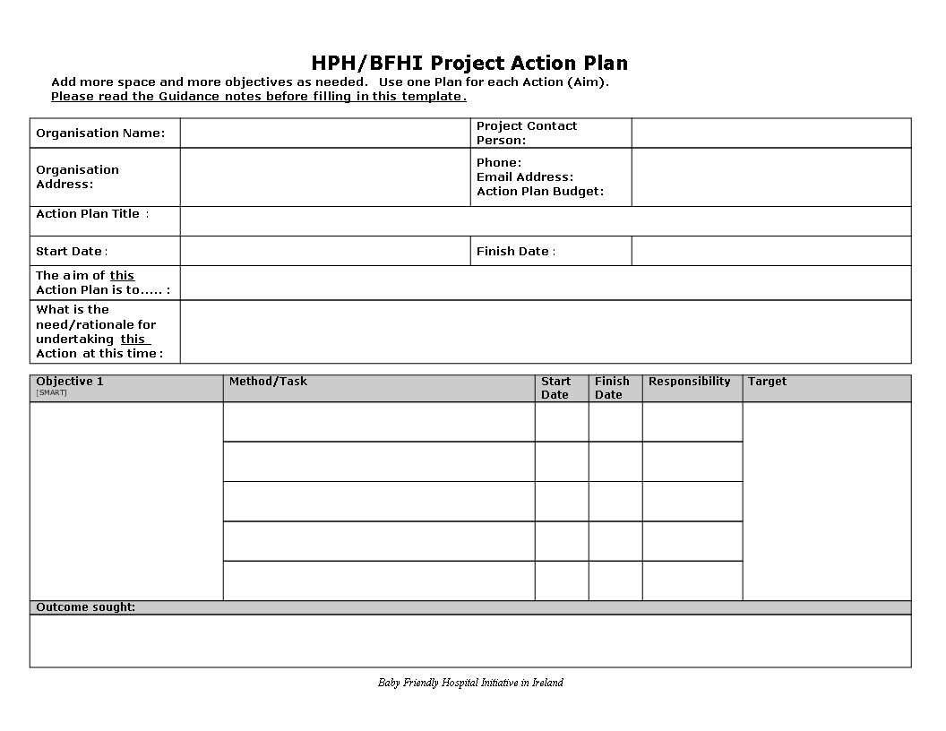 Project Action Plan Word