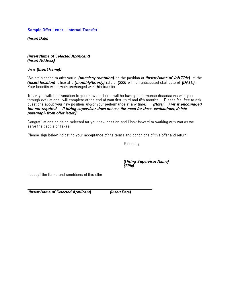 Internal Transfer Offer Letter Templates At