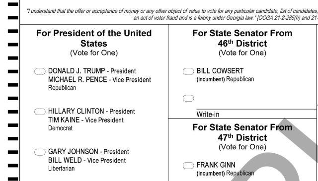 Télécharger Gratuit USA Presidential Election Ballot Trump Clinton